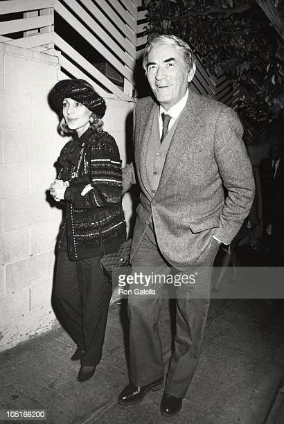 Gregory Peck wife Veronique during Departing Spago's at Spago's Restaurant in Hollywood CA United States