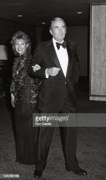 Gregory Peck wife Veronique during Variety International Humanitarian Award Honoring Frank Sinatra at Century Plaza Hotel in Los Angeles CA United...