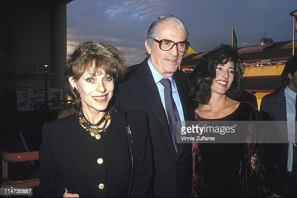 Gregory Peck with wife Veronique and daughter Celia in Los Angeles in 1990