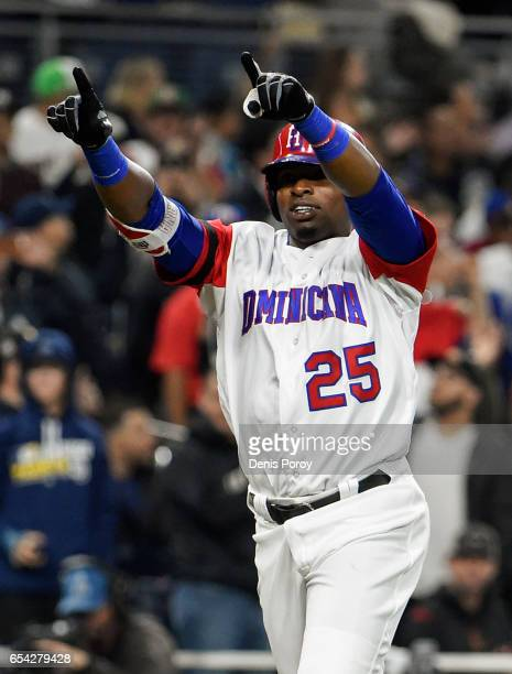 Gregory Polanco of the Dominican Republic celebrates after hitting a solo home run during the fifth inning of the World Baseball Classic Pool F Game...