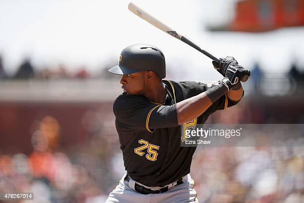 Gregory Polanco of the Pittsburgh Pirates bats against the San Francisco Giants at ATT Park on June 3 2015 in San Francisco California