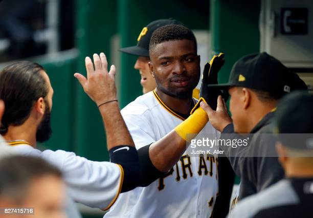 Gregory Polanco of the Pittsburgh Pirates celebrates after scoring on a RBI double in the second inning against the Detroit Tigers during interleague...