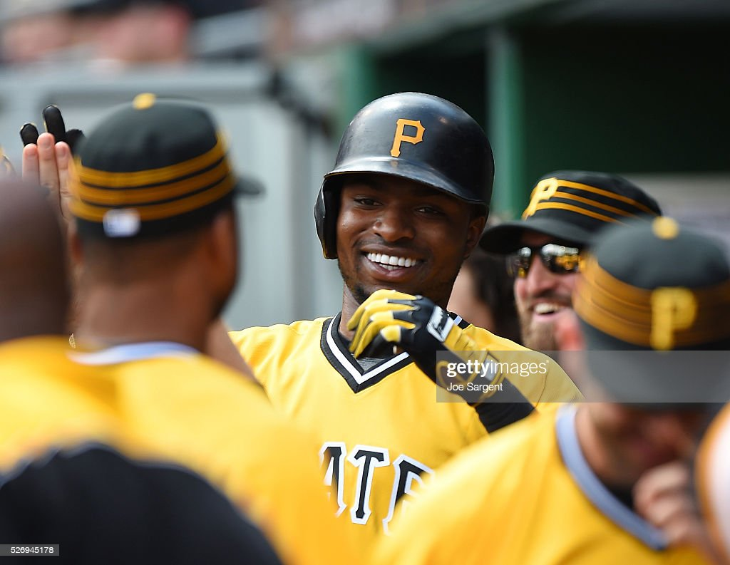 Gregory Polanco #25 of the Pittsburgh Pirates celebrates his solo home run during the fifth inning against the Cincinnati Reds on May 1, 2016 at PNC Park in Pittsburgh, Pennsylvania.