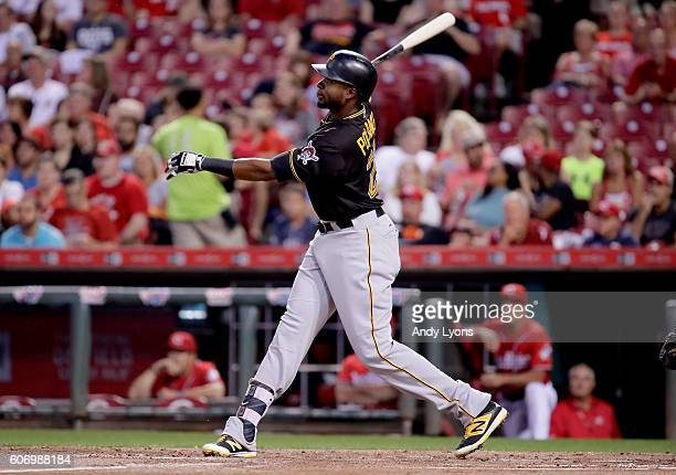 Gregory Polanco of the Pittsburgh Pirates hits a home run in the first inning against the Cincinnati Reds at Great American Ball Park on September 16...
