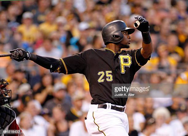 Gregory Polanco of the Pittsburgh Pirates hits a RBI double in the second inning during the game against the Arizona Diamondbacks at PNC Park on...