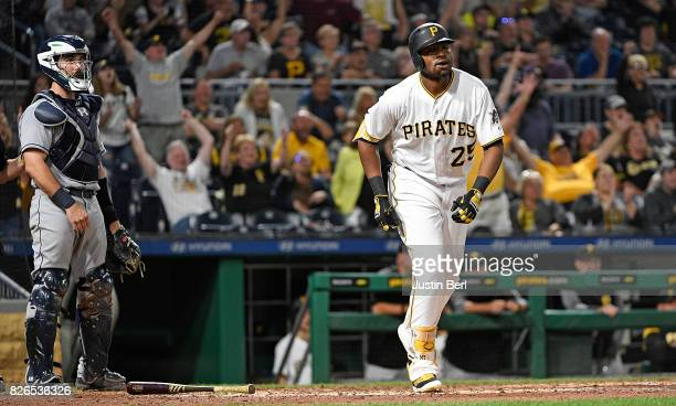 Gregory Polanco of the Pittsburgh Pirates hits a three run home run to right field in the seventh inning during the game against the San Diego Padres...