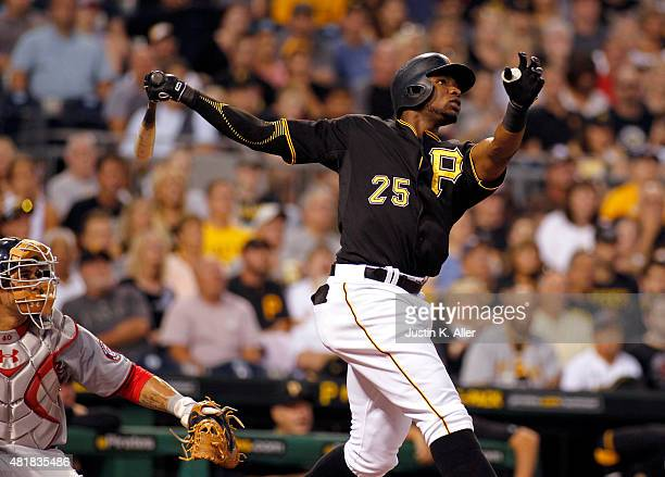 Gregory Polanco of the Pittsburgh Pirates hits a two run home run in the fifth inning during the game against the Washington Nationals at PNC Park on...