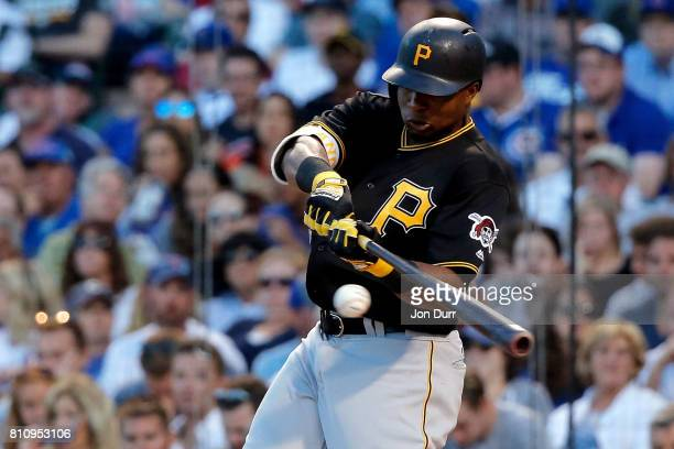 Gregory Polanco of the Pittsburgh Pirates hits a two run home run against the Chicago Cubs during the sixth inning at Wrigley Field on July 8 2017 in...