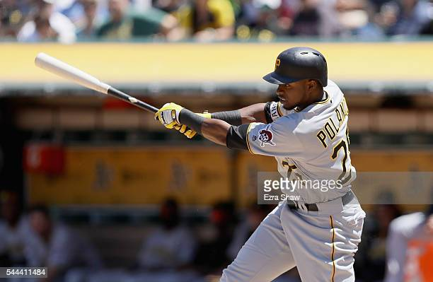 Gregory Polanco of the Pittsburgh Pirates hits a tworun single in the fifth inning against the Oakland Athletics at the Coliseum on July 3 2016 in...