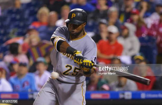 Gregory Polanco of the Pittsburgh Pirates hits an RBI single in the eighth inning during a game against the Philadelphia Phillies at Citizens Bank...