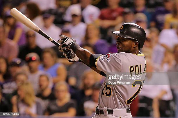 Gregory Polanco of the Pittsburgh Pirates hits an RBI single off of Jon Gray of the Colorado Rockies to score Jordy Mercer of the Pittsburgh Pirates...