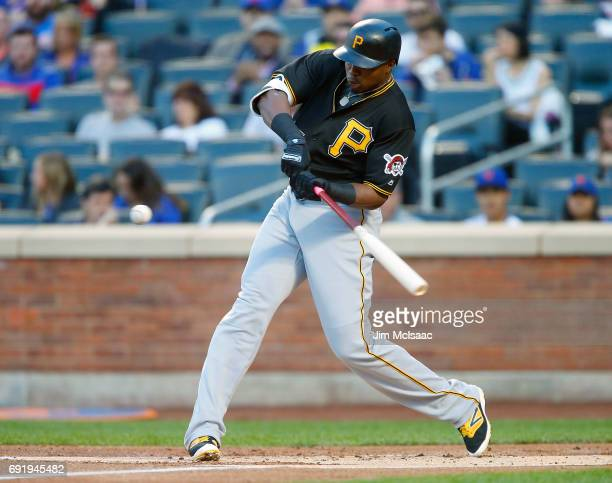 Gregory Polanco of the Pittsburgh Pirates in action against the New York Mets at Citi Field on June 2 2017 in the Flushing neighborhood of the Queens...