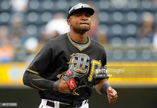 Gregory Polanco of the Pittsburgh Pirates in action during game one of the doubleheader against the St Louis Cardinals at PNC Park on September 30...