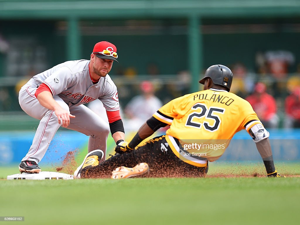 <a gi-track='captionPersonalityLinkClicked' href=/galleries/search?phrase=Gregory+Polanco&family=editorial&specificpeople=11178456 ng-click='$event.stopPropagation()'>Gregory Polanco</a> #25 of the Pittsburgh Pirates is tagged out at second base by <a gi-track='captionPersonalityLinkClicked' href=/galleries/search?phrase=Zack+Cozart&family=editorial&specificpeople=6889199 ng-click='$event.stopPropagation()'>Zack Cozart</a> #2 of the Cincinnati Reds during the second inning on May 1, 2016 at PNC Park in Pittsburgh, Pennsylvania.