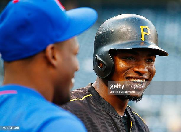Gregory Polanco of the Pittsburgh Pirates looks on during batting practice prior to the National League Wild Card game against the Chicago Cubs at...