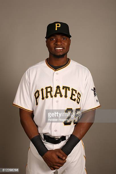 Gregory Polanco of the Pittsburgh Pirates poses during Photo Day on Thursday February 25 2016 at McKechnie Field in Bradenton Florida
