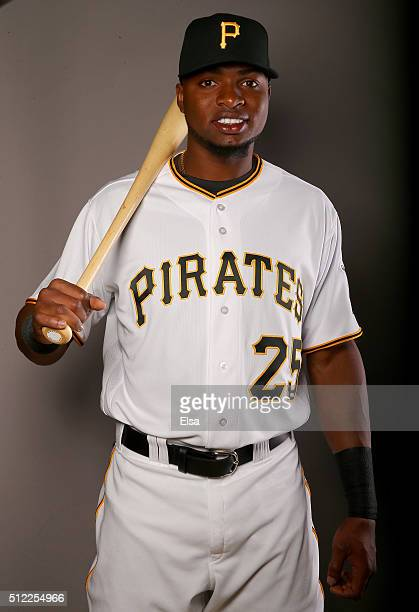 Gregory Polanco of the Pittsburgh Pirates poses for a portrait on February 25 2016 at Pirate City in Bradenton Florida