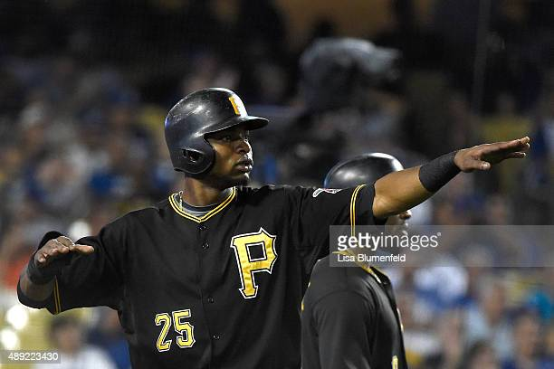 Gregory Polanco of the Pittsburgh Pirates scores in the eighth inning against the Los Angeles Dodgers at Dodger Stadium on September 19 2015 in Los...