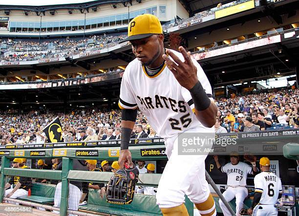 Gregory Polanco of the Pittsburgh Pirates takes the field during the game against the Chicago Cubs at PNC Park on September 16 2015 in Pittsburgh...