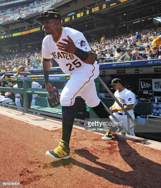 Gregory Polanco of the Pittsburgh Pirates takes the field in the first inning during the game against the Miami Marlins at PNC Park on June 10 2017...