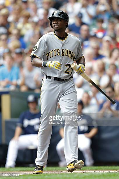 Gregory Polanco of the Pittsburgh Pirates walks to the dugout after striking out at the plate during the game against the Milwaukee Brewers at Miller...