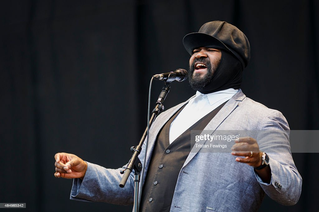 Gregory Porter performs on Day 2 of the V Festival at Hylands Park on August 23, 2015 in Chelmsford, England.
