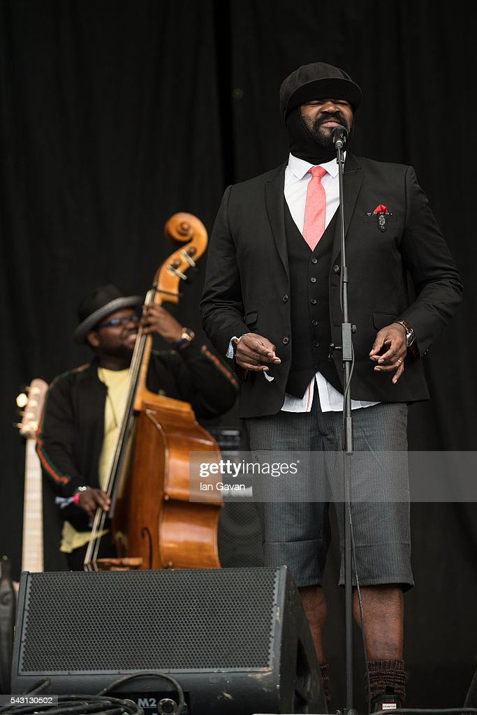 <a gi-track='captionPersonalityLinkClicked' href=/galleries/search?phrase=Gregory+Porter&family=editorial&specificpeople=7494861 ng-click='$event.stopPropagation()'>Gregory Porter</a> performs on the Pyramid Stage on day 2 of the Glastonbury Festival at Worthy Farm, Pilton on June 26, 2016 in Glastonbury, England. Now its 46th year the festival is one largest music festivals in the world and this year features headline acts Muse, Adele and Coldplay. The Festival, which Michael Eavis started in 1970 when several hundred hippies paid just £1, now attracts more than 175,000 people.
