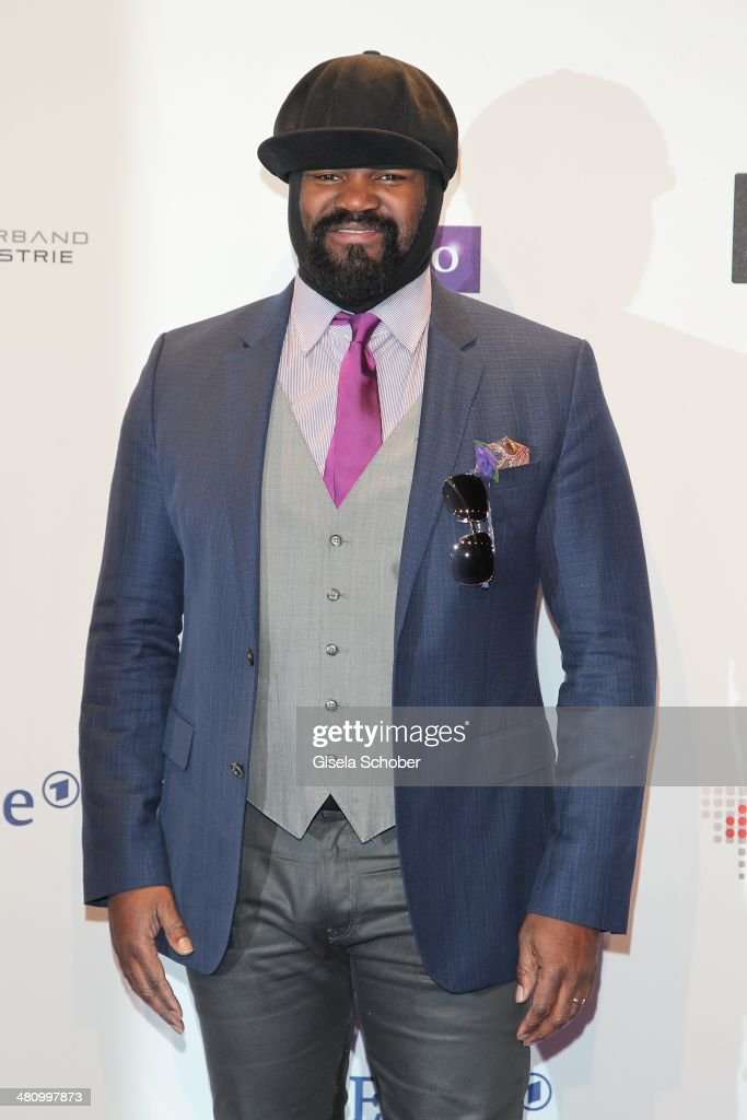 <a gi-track='captionPersonalityLinkClicked' href=/galleries/search?phrase=Gregory+Porter&family=editorial&specificpeople=7494861 ng-click='$event.stopPropagation()'>Gregory Porter</a> poses on the red carpet prior the Echo award 2014 at Messe Berlin on March 27, 2014 in Berlin, Germany.