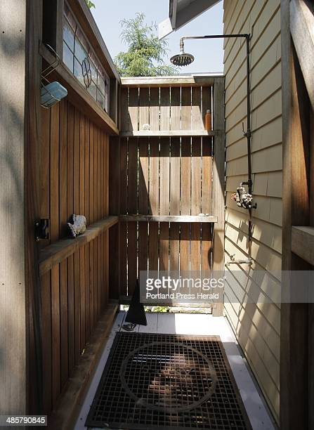 The back deck of Sharan Townsend's 1920s bungalow on Franklin Terrace in South Portland has an outdoor shower Photographed on Thursday June 16 2011