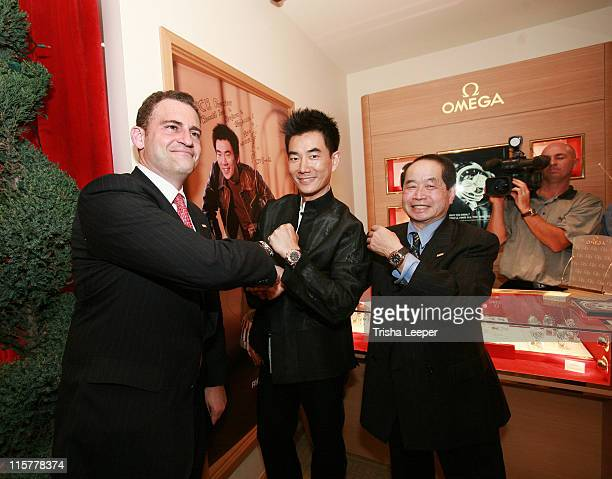 Gregory Swift Richie Jen and Donald Lee during Omega Watch Event With Richie Jen at C H Premiere Jewelers in Santa Clara California United States
