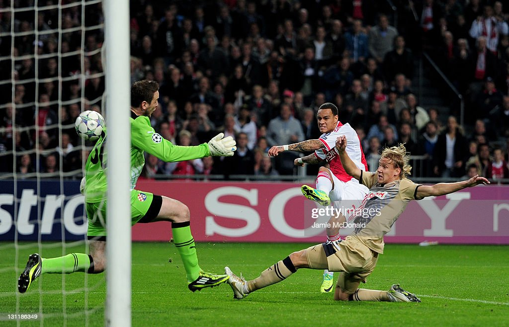 Gregory van der Wiel of Ajax scores the opening goal during the UEFA Champions League group D match between AFC Ajax and GNK Dinamo Zagreb at the Amsterdam Arena on November 2, 2011 in Amsterdam, Netherlands.
