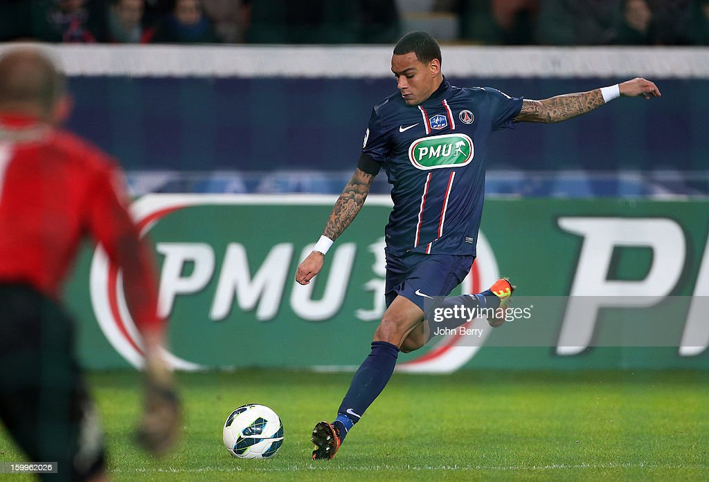 Gregory Van Der Wiel of PSG in action during the French Cup match between Paris Saint Germain FC and Toulouse FC at the Parc des Princes stadium on January 23, 2013 in Paris, France.