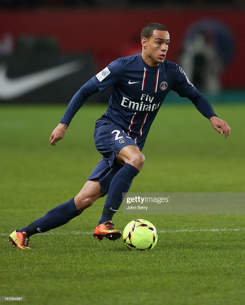 Gregory Van Der Wiel of PSG in action during the French Ligue 1 match between Paris Saint Germain FC and Sporting Club de Bastia at the Parc des Princes stadium on February 8, 2013 in Paris, France.