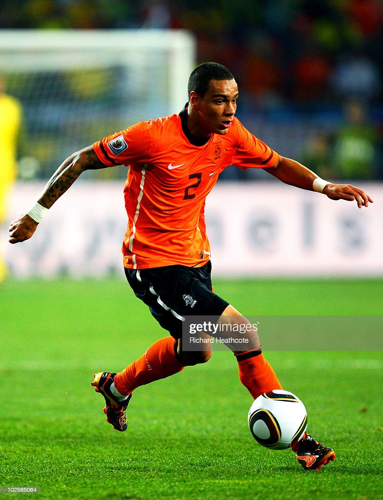 Gregory Van Der Wiel of the Netherlands in action during the 2010 FIFA World Cup South Africa Quarter Final match between Netherlands and Brazil at Nelson Mandela Bay Stadium on July 2, 2010 in Nelson Mandela Bay/Port Elizabeth, South Africa.