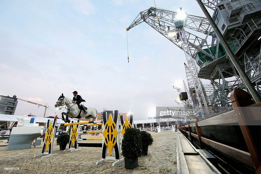 Gregory Wathelet of Belgium on Papillon Z competes in the CSI5* Table A with one jumpoff against the clock during day one of the Longines Global...