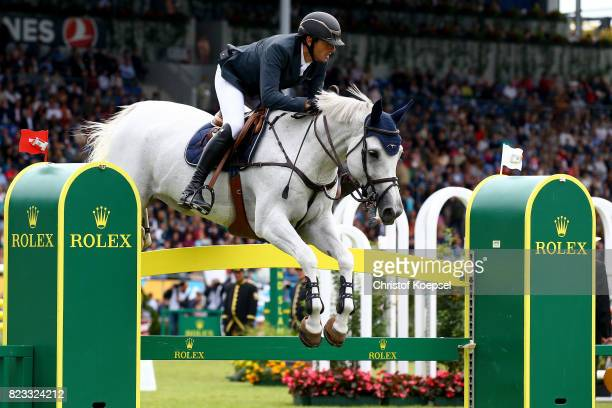 Gregory Wathelet of Belgium rides on Coree and won the Rolex Grand Prix of CHIO Aachen 2017 at Aachener Soers on July 23 2017 in Aachen Germany