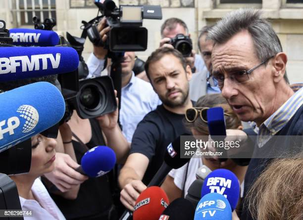 Gregory's parents' lawyer Thierry Moser speaks to journalists outside the Court of Appeal in Dijon on August 4 2017 Murielle Bolle was arrested for...