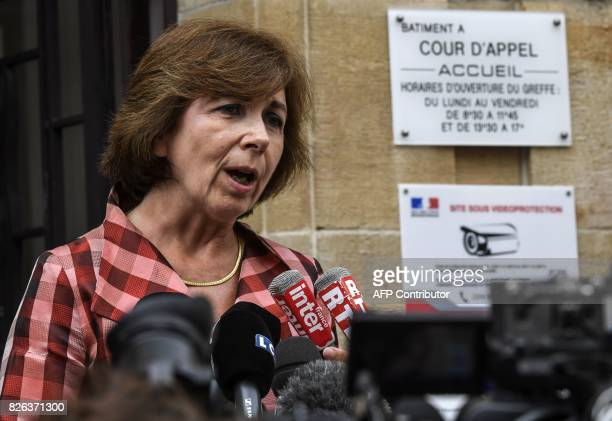 Gregory's parents' lawyers MarieChristine ChastantMorand answers journalists' questions outside the Court of Appeal in Dijon on August 4 2017 after...