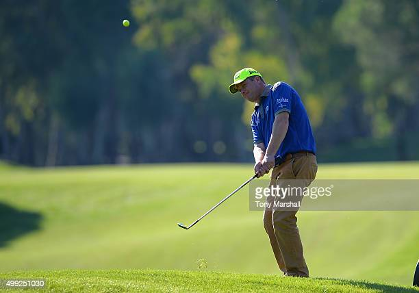 Greig Hutcheon of Paul Lawrie Golf Centre chips onto the 11th green during the fourth round of the PGA PlayOffs at Antalya Golf Club PGA Sultan...