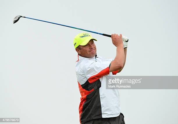 Greig Hutcheon of Paul Lawrie Golf Centre in action during the second day of the AAM Scottish Open Qualifier at North Berwick Golf Club on July 5...