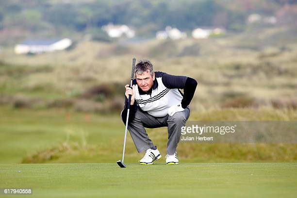 Greig Hutcheon of Paul Lawrie Golf Centre Inchma lines up a putt during day two of The 2016 PGA PlayOffs on October 25 2016 in Braunton England