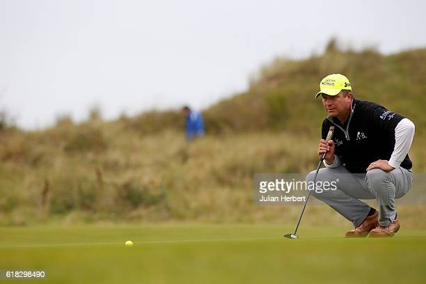 Greig Hutcheon of Paul Lawrie Golf Centre Inchma lines up a putt during day three of The 2016 PGA PlayOffs on October 26 2016 in Braunton England