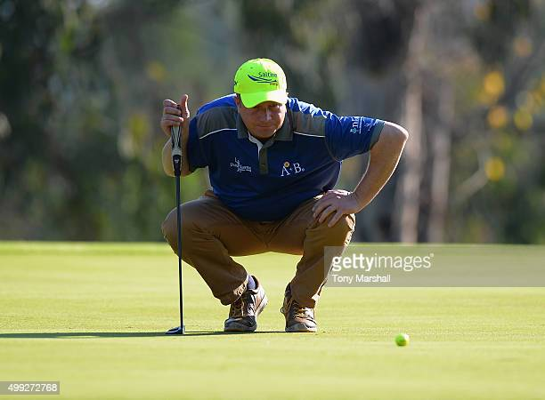 Greig Hutcheon of Paul Lawrie Golf Centre lines up his putt on the 6th green during the fourth round of the PGA PlayOffs at Antalya Golf Club PGA...
