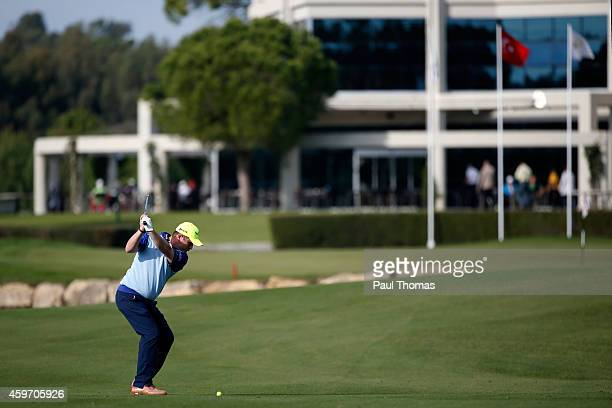 Greig Hutcheon of Paul Lawrie Golf Centre plays a shot during day one of the Titleist PGA PlayOffs at Antalya Golf Club on November 29 2014 in...