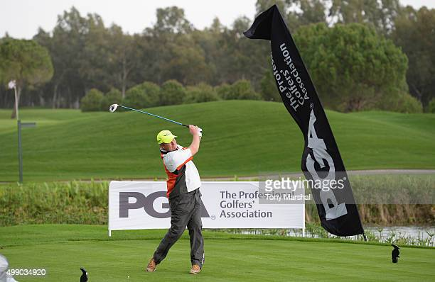 Greig Hutcheon of Paul Lawrie Golf Centre plays his first shot on the 1st tee during the second round of the PGA PlayOffs at Antalya Golf Club PGA...