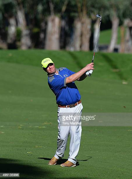 Greig Hutcheon of Paul Lawrie Golf Centre plays his second shot on the 13th fairway during the thrd round of the PGA Play Offs at Antalya Golf Club...