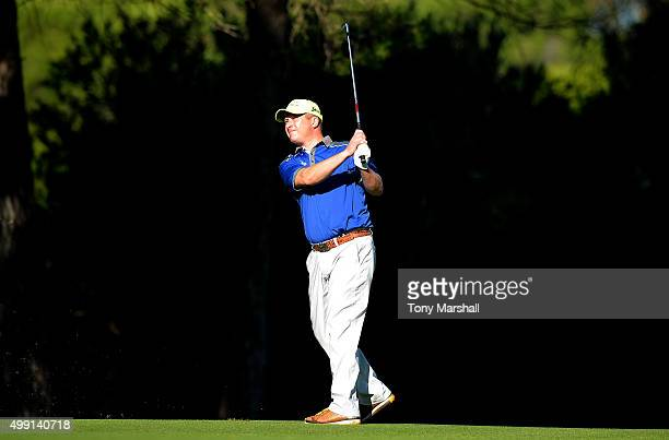 Greig Hutcheon of Paul Lawrie Golf Centre plays his second shot on the 5th fairway during the thrd round of the PGA Play Offs at Antalya Golf Club...
