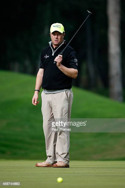 Greig Hutcheon of Paul Lawrie Golf Centre reacts after a putt during day two of the Titleist PGA PlayOffs at Antalya Golf Club on November 30 2014 in...