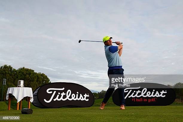 Greig Hutcheon of Paul Lawrie Golf Centre tees off during day one of the Titleist PGA PlayOffs at Antalya Golf Club on November 29 2014 in Antalya...