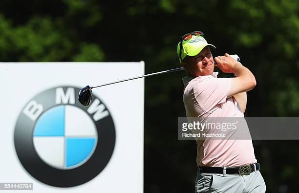 Greig Hutcheon of Scotland tees off during day one of the BMW PGA Championship at Wentworth on May 26 2016 in Virginia Water England